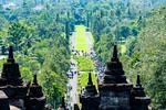 Saturday Mar 25. Buddhist Temple complex of Borobudur. Looking back toward the entrance.